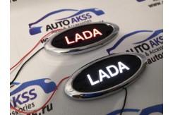 Светодиодный шильдик с белой / красной надписью LADA