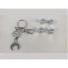 Колпачок на ниппель 4 шт+брелок-ключ LADA (хром)